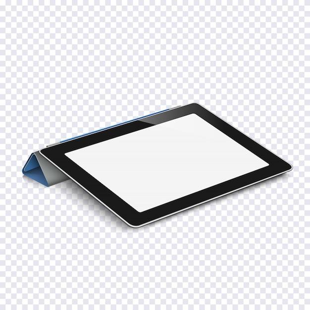Tableta con pantalla en blanco aislada en transparente