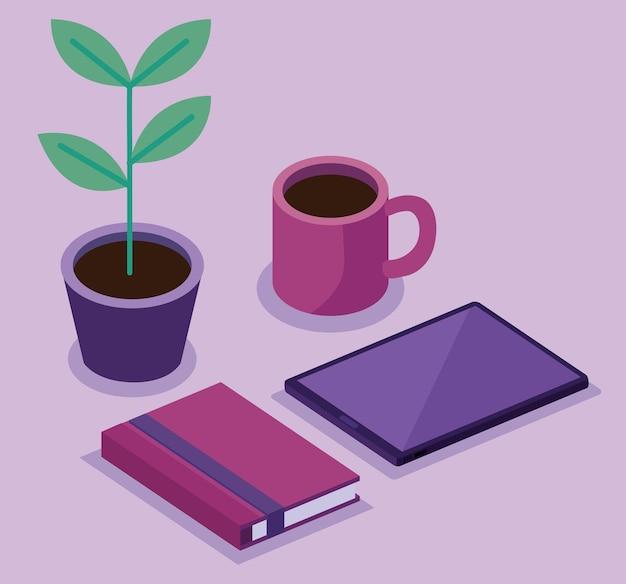 Tableta con paquete de libro y planta de interior de espacio de trabajo isométrico establece diseño de ilustración de iconos