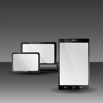 Tableta portátil y gadgets de tecnología portátil con sombra