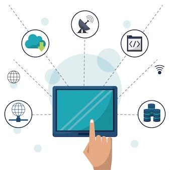 Tableta en primer plano y conexiones de red y aplicaciones alrededor