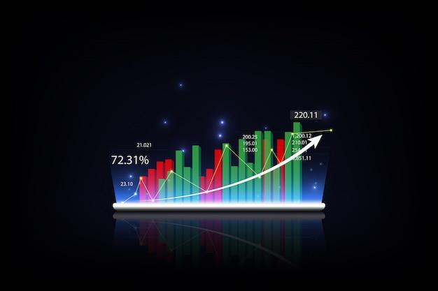 Tableta que muestra un holograma virtual creciente de estadísticas