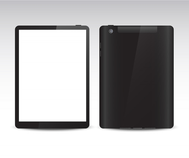 Tableta realista desde diferentes lados.