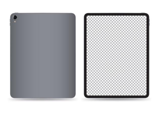 Tableta trasera ilustración vectorial de maqueta delantera delantera