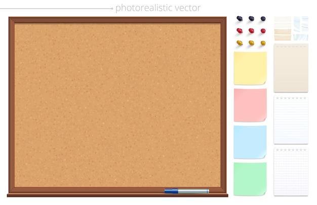 Tablón de anuncios de corcho vacío y juego de alfileres de notas adhesivas y cintas adhesivas