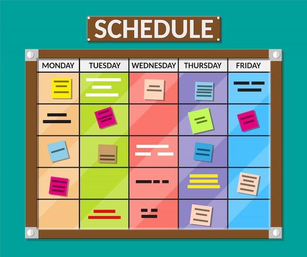 Tablón de anuncios lleno de tareas en tarjetas adhesivas.