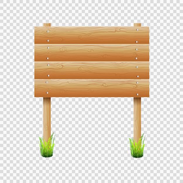 Tablón de anuncios de madera con la hierba en el fondo transparente