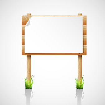 Tablón de anuncios de madera de vector con hierba