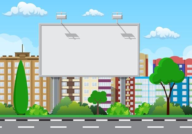 Tablón grande urbano vacío o cartelera con lámpara