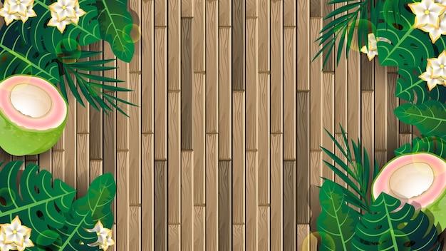Tablones de madera y plantas tropicales en el fondo del concepto de verano