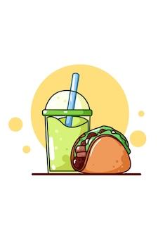 Taco dulce con jugo de manzana