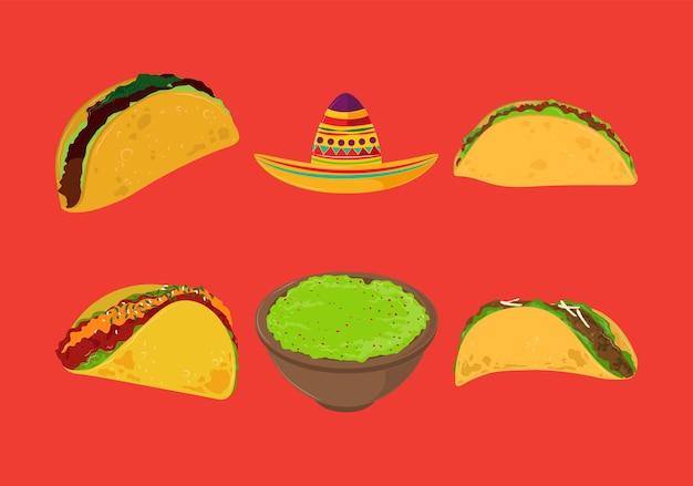 Taco guacamole y sombrero