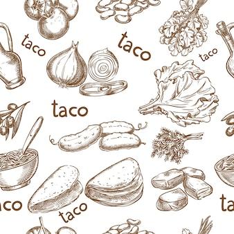 Taco, ingredientes de la comida sin costura