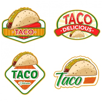 Taco logo stock vector set