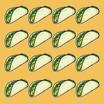 Tacos de comida rápida patrón de diseño de textura de fondo sin fisuras