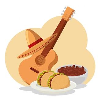 Tacos con frijoles y guitarra para el evento del día de los muertos