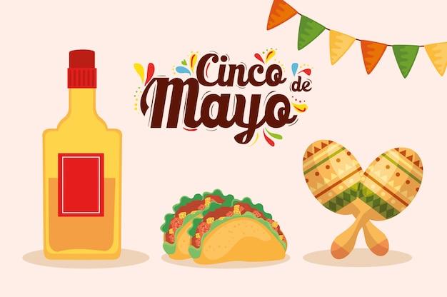 Tacos mexicanos de botella de tequila y maracas de cinco de mayo