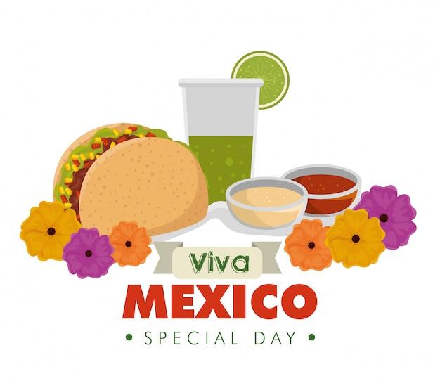 Tacos con vaso de tequila y flores para evento