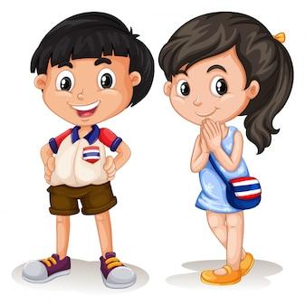 Tailandés niño y niña sonriendo