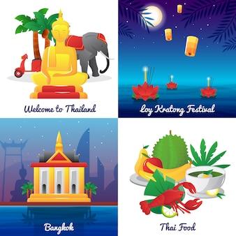 Tailandia hitos comida y símbolos nacionales y festival iconos cuadrados cartel