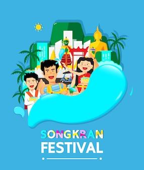 Tailandia songkran festival es el nuevo año de tailandia