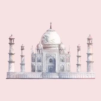 El taj mahal en agra, india acuarela ilustración