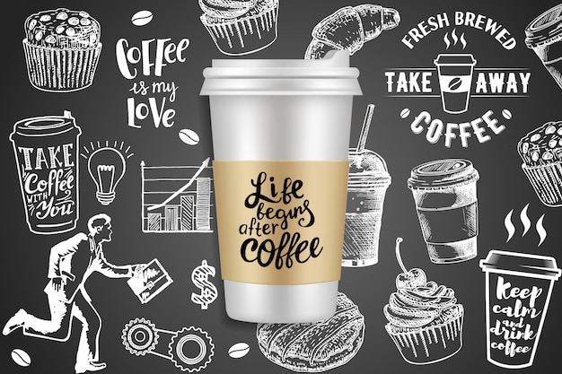 Take away coffee ads ilustración creativa