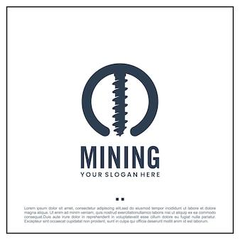 Taladro minero, plantilla de logotipo