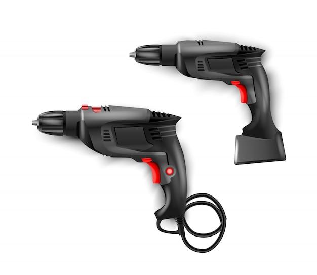 Taladro percutor eléctrico negro manual con taladros.