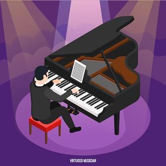 Talentoso pianista durante concierto en rayos de luz composición isométrica en púrpura