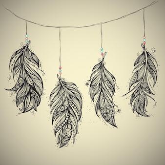 Talismán nativo americano, plumas dibujadas a mano