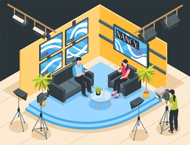 Talk show de rodaje en la ilustración isométrica del estudio de televisión