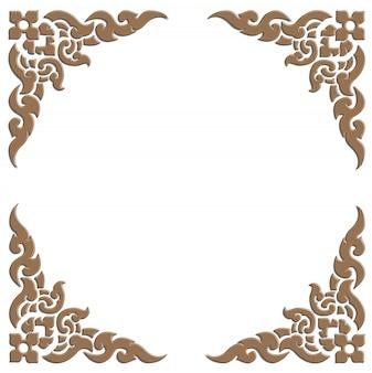 Talla de madera 3d de marco patrón tailandés