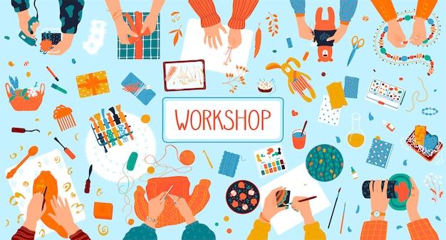 Taller artesanal de artesanía que cose manos creativas para hacer dulces, juguetes y pintura, suministros, herramientas, elementos de ilustración.