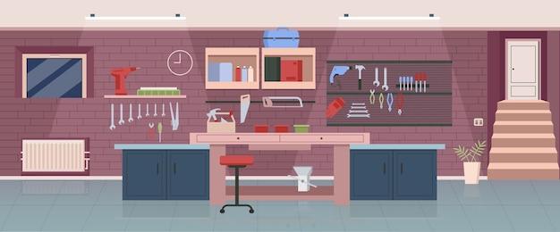 Taller de carpintero color plano. oficina de carpintería, diseño de interiores de dibujos animados en 2d de garaje con herramientas de trabajo en el fondo. lugar de trabajo de manitas profesional, decoración de estudio de carpintería
