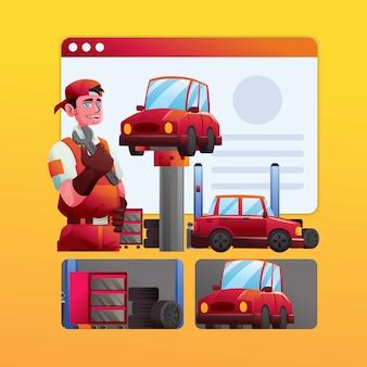 Taller de empleado mecánico de automóviles