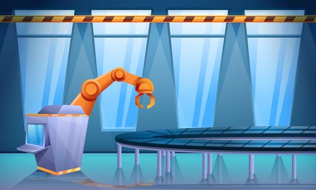 Taller de fábrica con transportador y mano robo, ilustración vectorial