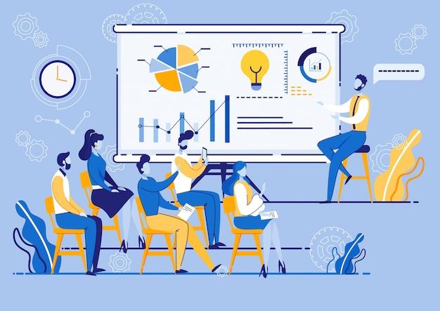 Taller de marketing de la empresa, personas en la reunión.