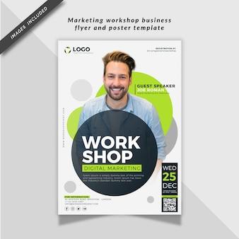 Taller de marketing folleto comercial y plantilla de póster