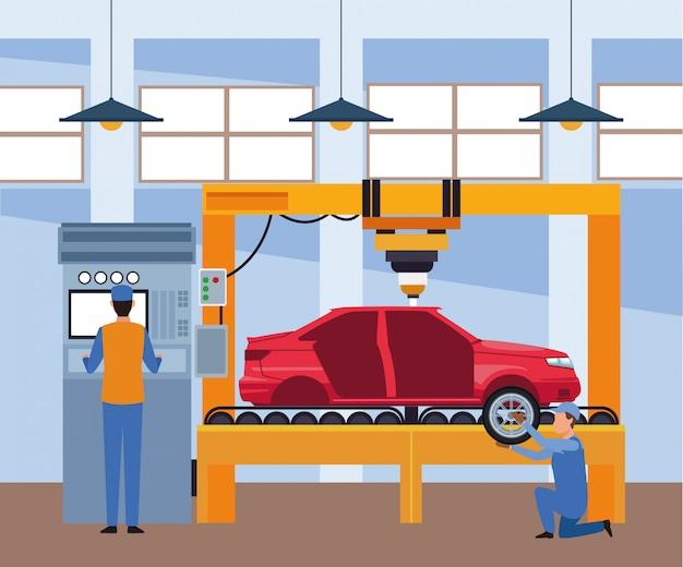 Taller de reparación de automóviles con mecánica y carro levantado