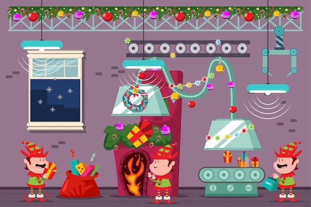 Taller de santa con divertidos duendes en la fábrica de navidad. vector ilustración de dibujos animados de vacaciones.