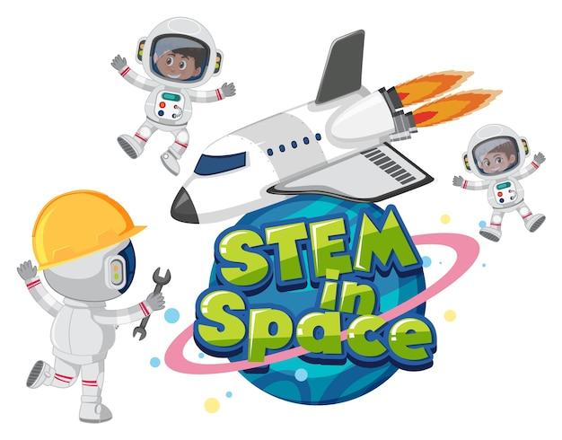 Tallo en el logotipo del espacio con astronautas y objetos espaciales.