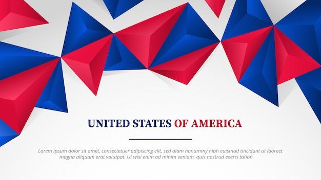 Tamaño completo del hd de la bandera de la plantilla de los estados unidos de américa con la forma poligonal 3d