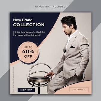 Tamaño cuadrado de banner de venta de moda o publicación de instagram
