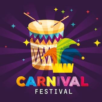 Tambor de carnaval con decoración de sombrero tradicional joker