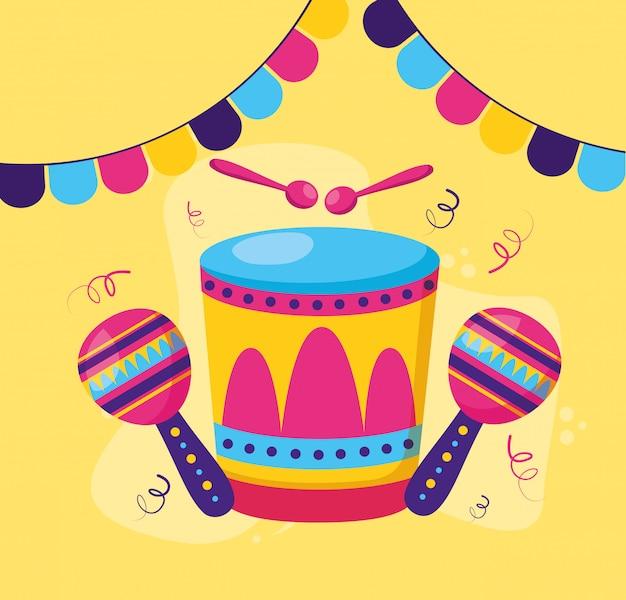 Tambor maracas carnaval