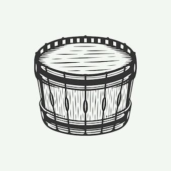 Tambor retro vintage en estilo de grabado en línea