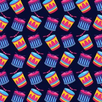 Tambores de carnaval palos de patrones sin fisuras