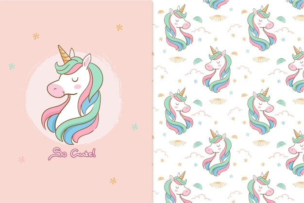 Tan lindo patrón de unicornio