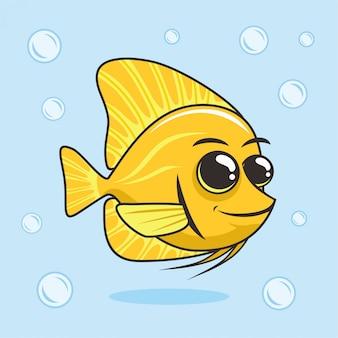 Tang fish amarillo de dibujos animados animales submarinos