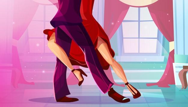 Tango en salón de baile ilustración de hombre y mujer en vestido rojo bailando danza latinoamericana